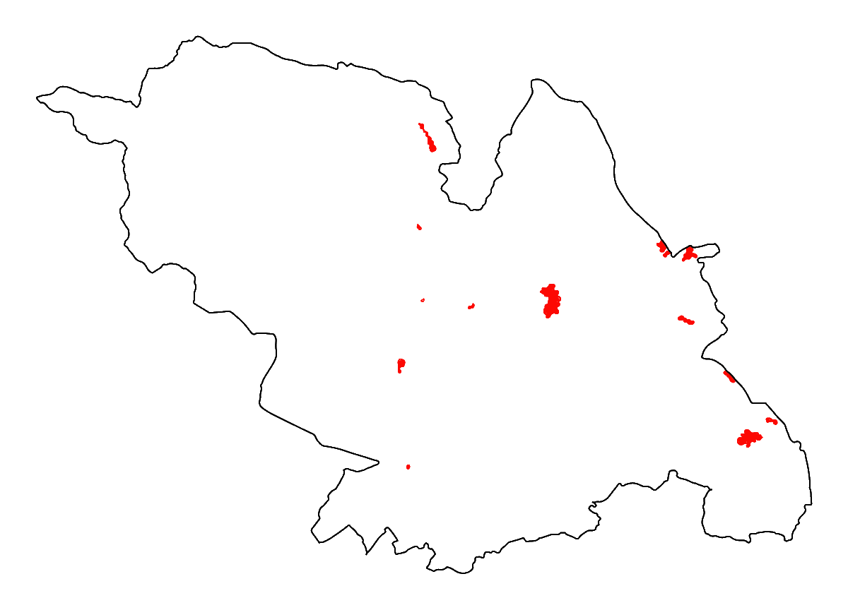 A map of the current landfill areas in Sheffield