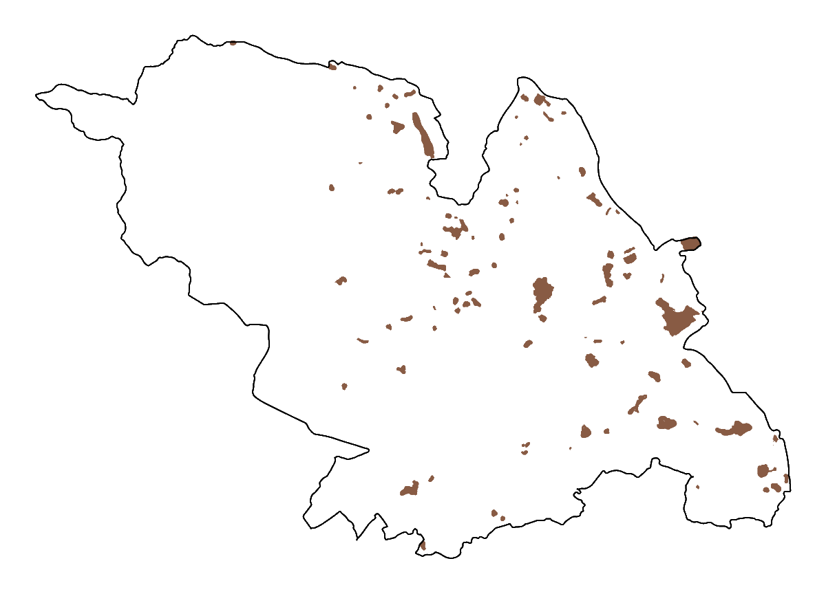 A map of the historic landfill areas in Sheffield