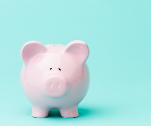 piggy bank on aqua background